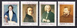 Ajman, Mi cat. 425-428 A. Classical Composers, Canceled. ^