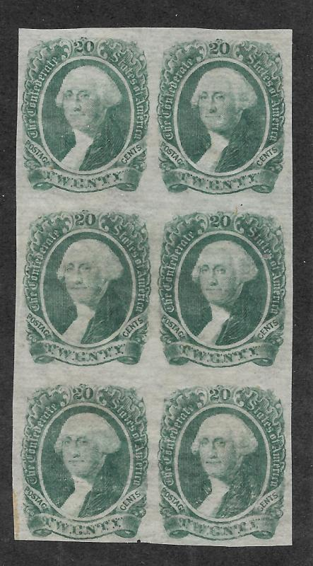 CSA #13b Unused, N.G. Block of 6, Dark Green, Free Insured Shipping