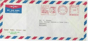 Pakistan 1967 United Paints Slogan Airmail Meter Mail Stamps Cover Ref 29331
