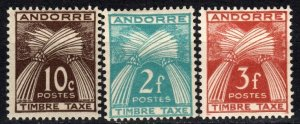 Andorra (Fr) #J32, J34-5  F-VF Unused CV $5.60  (X5501)