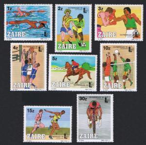 Zaire Sport Olymphilex '85' Philatelic Exhibition 8v SG#1223-1230 SC#1182-1189
