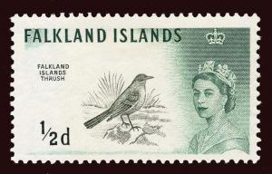 FALKLAND ISLANDS Scott #128 (SG 193) 1960 Falkland Islands Thrush OG HR