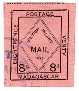 (I.B) Madagascar Postal : British Inland Mail 8d (Venty)