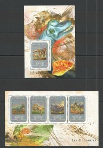 ST655 2014 GUINEA DINOSAURS FAUNA PREHISTORIC ANIMALS 1KB+1BL MNH STAMPS