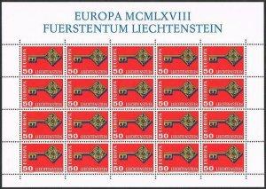 Liechtenstein 442 sheet,MNH.Michel 495 bogen. EUROPE CEPT-1968,Golden Key.