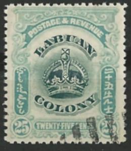 Labuan # 107  Crown - 25c  (1)    Used CTO