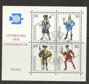 Switzerland, 1974 INTERNABA Stamp Exhibit Souvenir Sheet, used, no faults