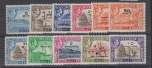 ADEN 36-46 Complete set to 10sh. Mint surcharges1951 LH