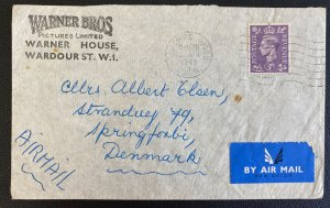 1949 St Johns Wood England Airmail Cover To Denmark Warner Bros Co