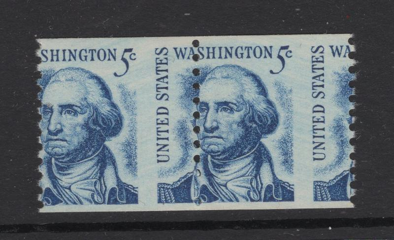 United States 1966 Washington 5c Stamp Misperfed Coil Error Pair MNH