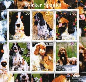 Tajikistan 2000  DOGS COCKER SPANIEL Sheetlet (6) MNH