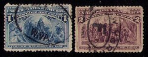 US Sc 230-231 Fancy Cancels Used Columbus Series (One & Two Cent) F-VF