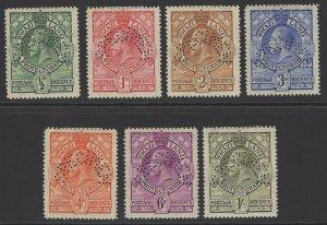 SWAZILAND SG11/7s 1933 DEFINITVE SET TO 1/= PERF SPECIMEN MTD MINT