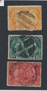 3x Canada Victoria Used Jubilee Stamps #51-1c #52-2c #53-3c Guide Value = $25.00