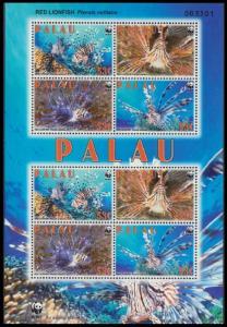 Palau WWF Red Lionfish Sheetlet of 2 sets MI#2902-2905 SC#992
