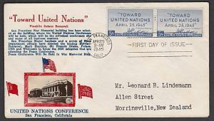USA 1945 CROSBY photo FDC to New Zealand - Toward United Nations...........55587