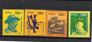 POLAND 1991 BOY SCOUTS SET OF 4 STAMPS MNH