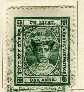 INDIA; INDORE-HOLKAR 1904 early local issue fine used 1a. value