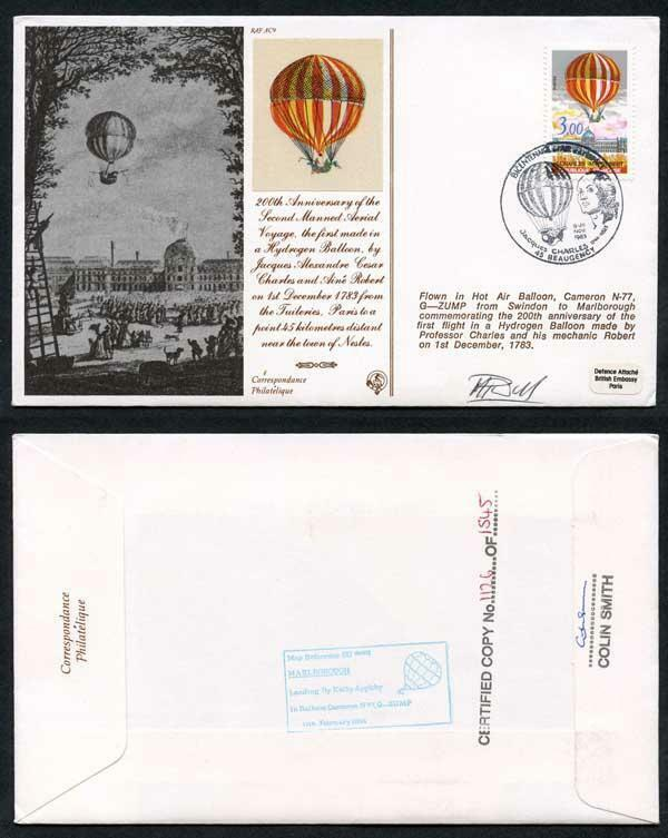 AC9c 200th Ann 2nd Manned Aerial Voyage Signed by M. Harris