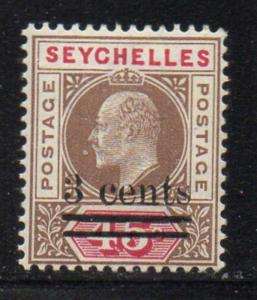 Seychelles Sc 51 1903 3 c overprint on 45 c E VII stamp mint