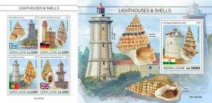 Z08 IMPERF SRL190702ab SIERRA LEONE 2019 Lighthouses and shells MNH
