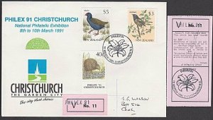 NEW ZEALAND 1991 $3 & $5 Birds on insured Philex'91 commem cover............L371