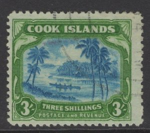 COOK ISLANDS SG145(CW17a) 1945 3/= GREENISH BLUE & GREEN CENTRE DOUBLED USED