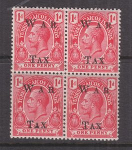 TURKS & CAICOS ISLANDS , 1919 WAR TAX, Local overprint, 1d. Block 4, lhm./mnh.