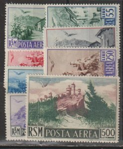 San Marino   SC  C63-71  Mint Lightly Hinged