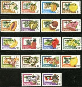 BARBUDA  Sc#595-612 1983 Overprint on Flowers & Fruits Complete Set OG Mint NH