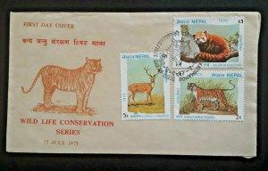 1975 Kathmandu Nepal Wildlife Conservation Series Illustrated 1st Day Cover