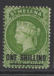 ST.HELENA SG30 1864 1/- YELLOW-GREEN MTD MINT