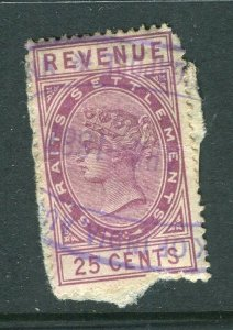 STRAIGHTS SETTLEMENTS; 1890s early QV Revenue issue fine used 25c.