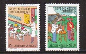 United Nations Vienna  #76-77  MNH  1988  immunisation  polio   diphteria