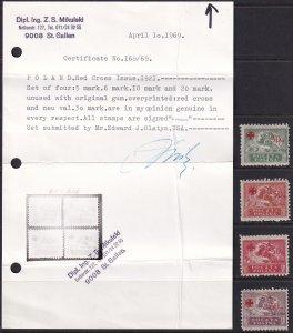1921 Poland Red Cross semi postal set with cert MH Sc# B11 / B14 CV $71.00