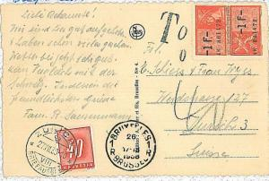 BELGIUM -  POSTAL HISTORY: postcard to Switzerland TAXED on arrival  LIONS 1938