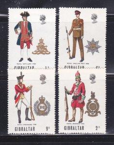 Gibraltar 226-229 Set MNH Military Uniforms