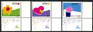 Israel 1035-37 tabs,MNH.Special Occasions:Good luck,With love,See you again,1989