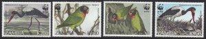 Zambia #654-7 MNH set, WWF birds, issued 1996