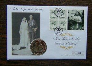Gibraltar 1999 Queen Mother 100th Birthday Coin Cover