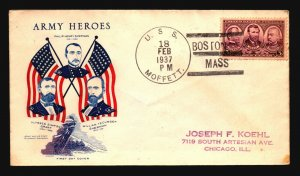 US 1937 USS MOFFETT Cover / Army Heros Cachet - Z18573