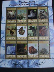 Rwanda Stamp:2009-Prehistory and Minerals CTO Stamp sheet-two complete sets