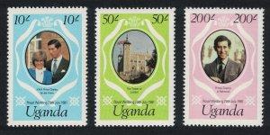 Uganda Charles and Diana Royal Wedding 3v reprints perf 14 SG#345-347
