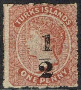 TURKS ISLANDS 1881 QV 1/2 ON 1D NO GUM