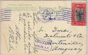 58656 - PANAMA - POSTAL HISTORY: POSTCARD to URUGUAY 1915 - 2  Purple POSTMARKS!