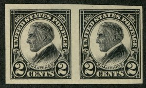 US #611 SUPERB mint never hinged, PAIR, post office fresh,  SUPER SELECT!