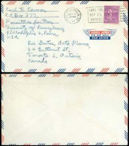 1958 Philadelphia, AIR MAIL Cover to ACTA DIURNA, TORONTO CA, Single Prexie #817