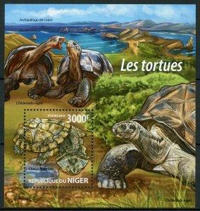 Niger Turtles Stamps 2015 MNH Mata Mata Galapagos Tortoises Reptiles 1v S/S