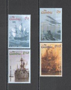 Z0249 GAMBIA TRANSPORT HISTORY MILITARY SAILING SHIPS & BOATS BATTLES 1SET MNH