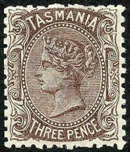 Tasmania SG146d 3d Purple Brown Cat 75 pounds